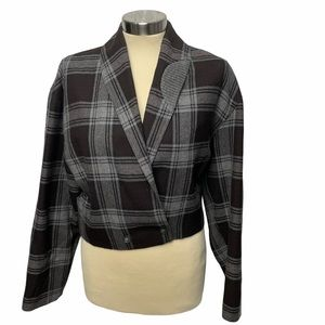 Crisca Vintage Crop Tartan Plaid Jacket